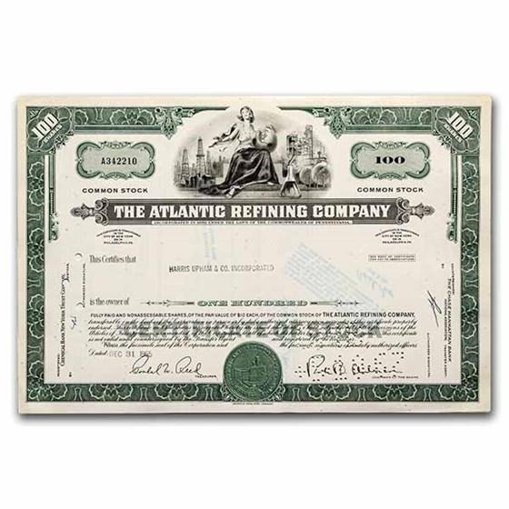 The Atlantic Refining Company Stock Certificate (Green)