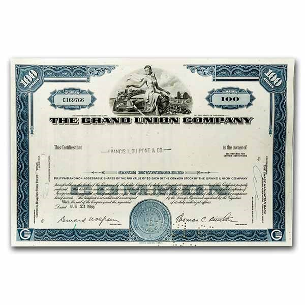 The Grand Union Company Stock Certificate 2nd Style (Blue)