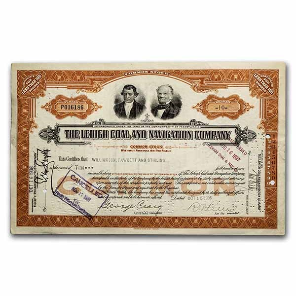 The Lehigh Coal and Navigation Company Stock Certificate (Orange)