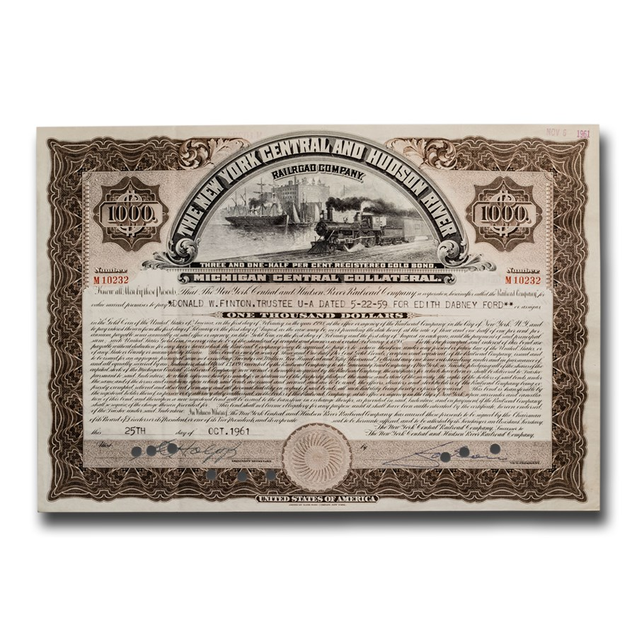 The New York Central and Hudson River Railroad Company Bond