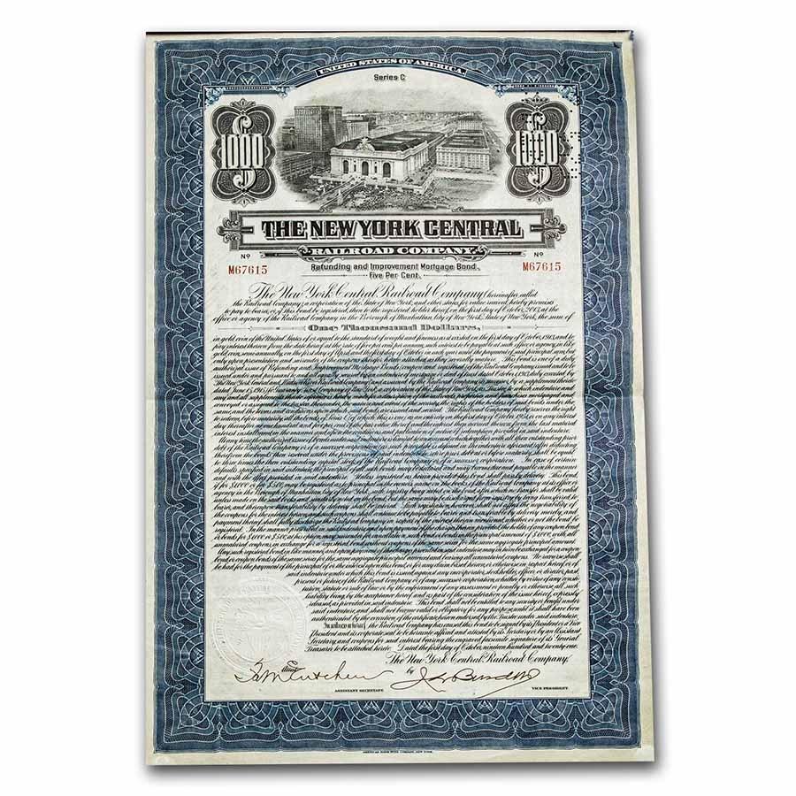 The New York Central Railroad Company Bond Certificate (Blue)