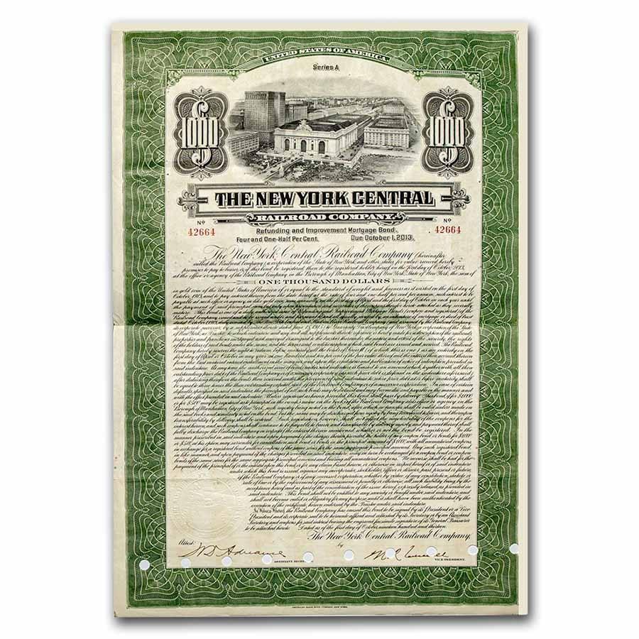 The New York Central Railroad Company Bond Certificate (Green)