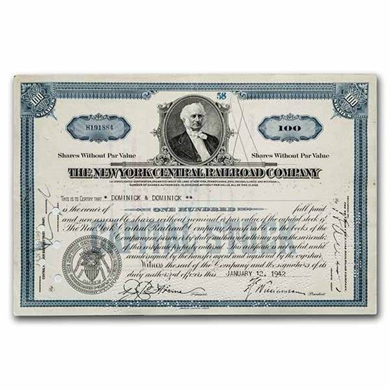 The New York Central Railroad Company Stock Certificate (Blue)