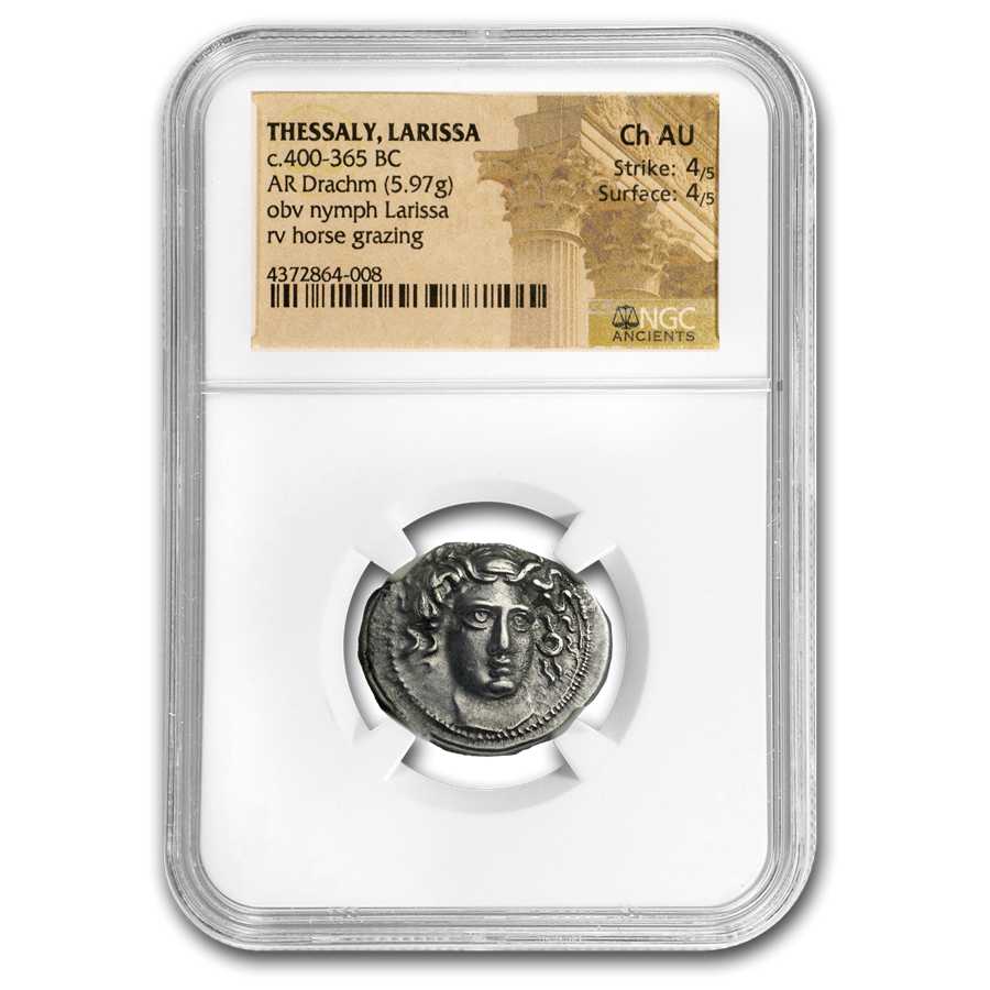 Thessaly, Larissa AR Silver Drachm (c.400-365 BC) Ch AU NGC
