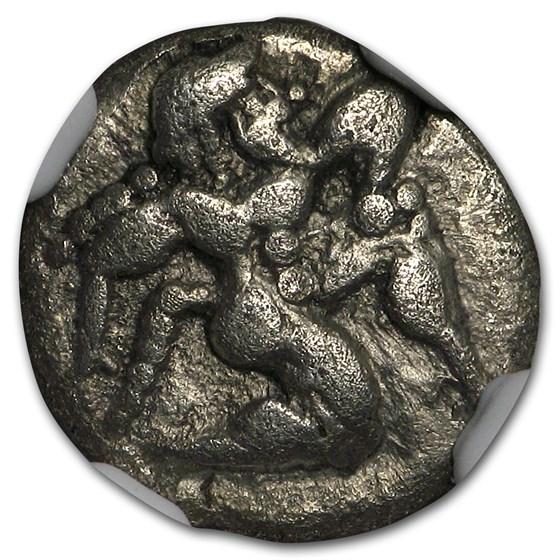Thrace Isle of Thasos AR Silver Diobol (525-463 BC) Ch VF NGC