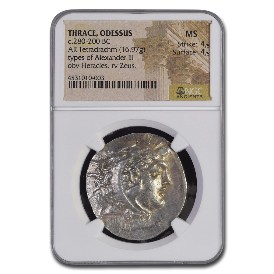 Thrace Odessus AR Tetradrachm Alexander III (280-200 BC) MS NGC