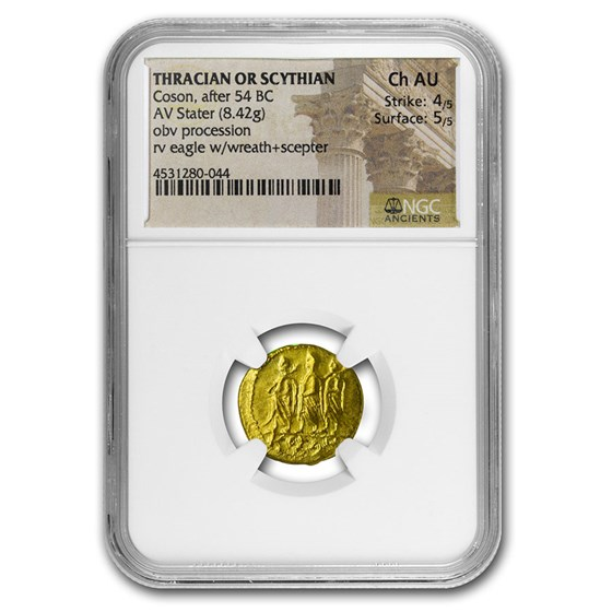 Thracian/Scythian Gold Stater Coson (after 54 BC) Ch AU NGC