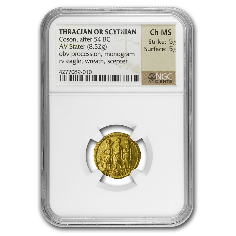 Thracian/Scythian Gold Stater Coson (after 54 BC) Ch MS NGC