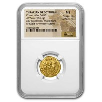 Thracian/Scythian Gold Stater Coson (after 54 BC) MS NGC