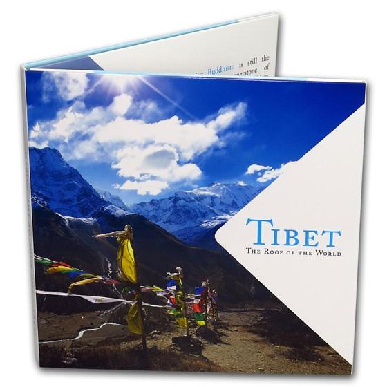 Tibet Silver 1 Tangka Lucky Coin in Decorative Folder