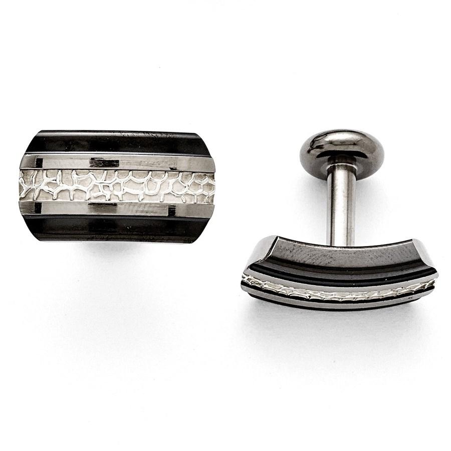Titanium Black Ti/Sterling Silver Polished Cuff Links