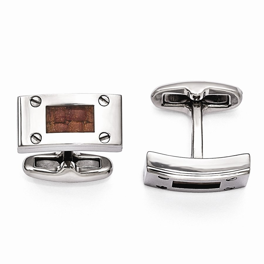 Titanium & Brown Leather Polished Cuff Links
