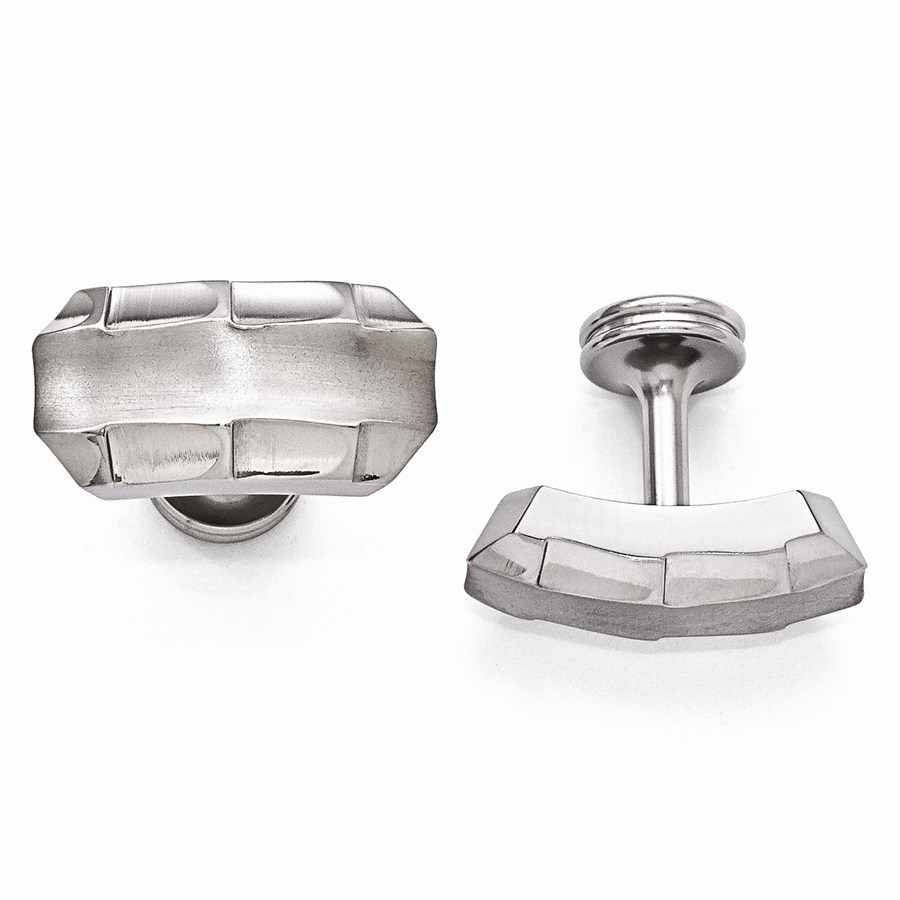 Titanium Brushed & Polished Faceted Edges Cuff Links