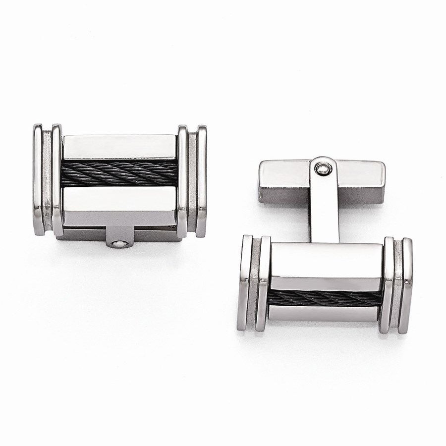 Titanium Cable Rope Polished Cuff Links