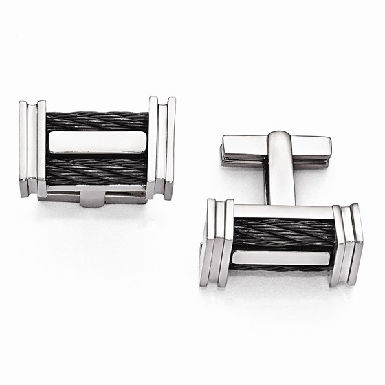 Titanium Cable Twist Polished Cuff Links