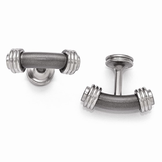 Titanium & Steel Laser Texture/Polished Cuff Links