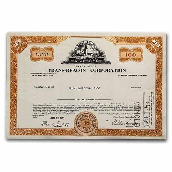 Trans-Beacon Corporation Stock Certificate (Orange)