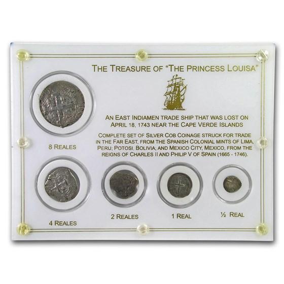 Treasure of The Princess Louisa 5-Coin Reales Shipwreck Set
