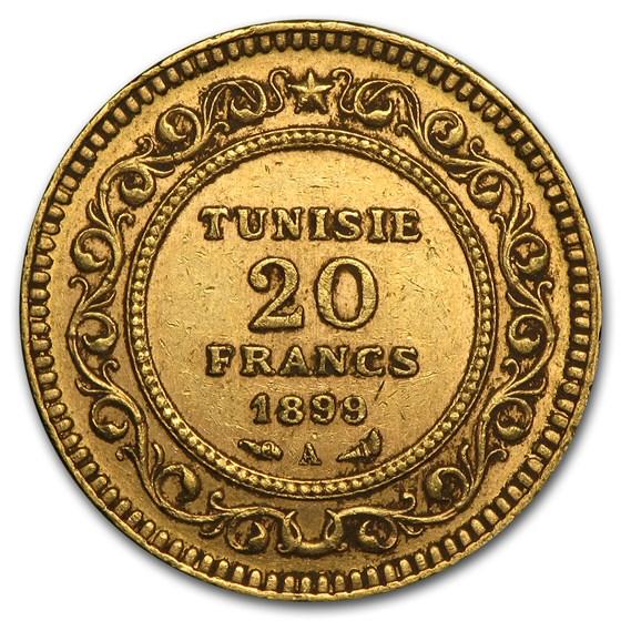 Tunisia Gold 20 Francs (Random) Avg Circ