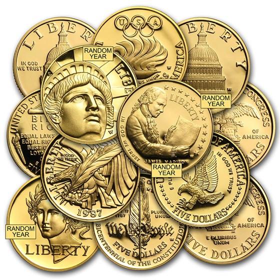 U.S. Mint Gold $5 Commem BU/Proof (AGW .24187 oz, Capsule only)