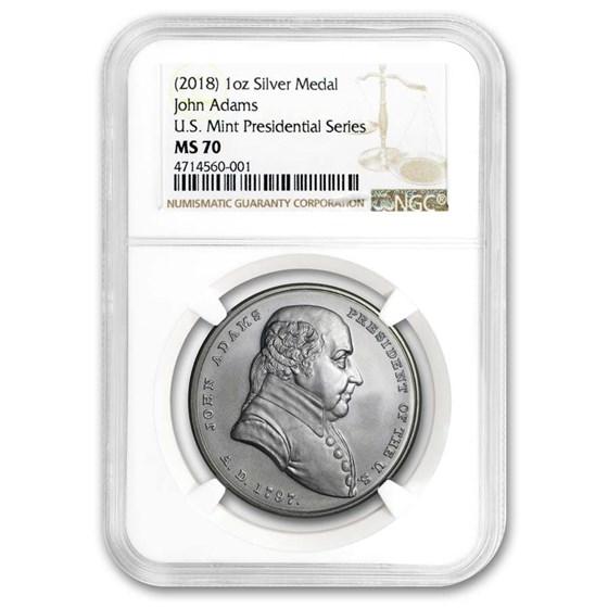 U.S. Mint Silver John Adams Presidential Medal MS-70 NGC
