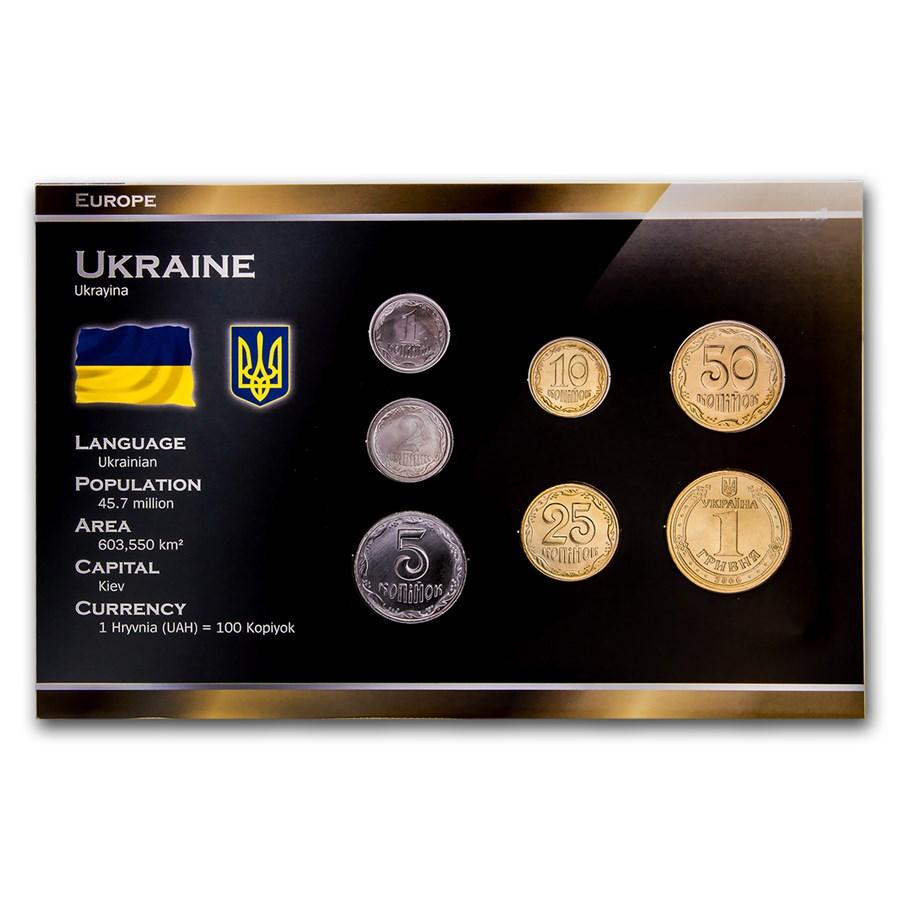 Ukraine 1 Hryvni-1 Hryvnia 7-Coin Set BU