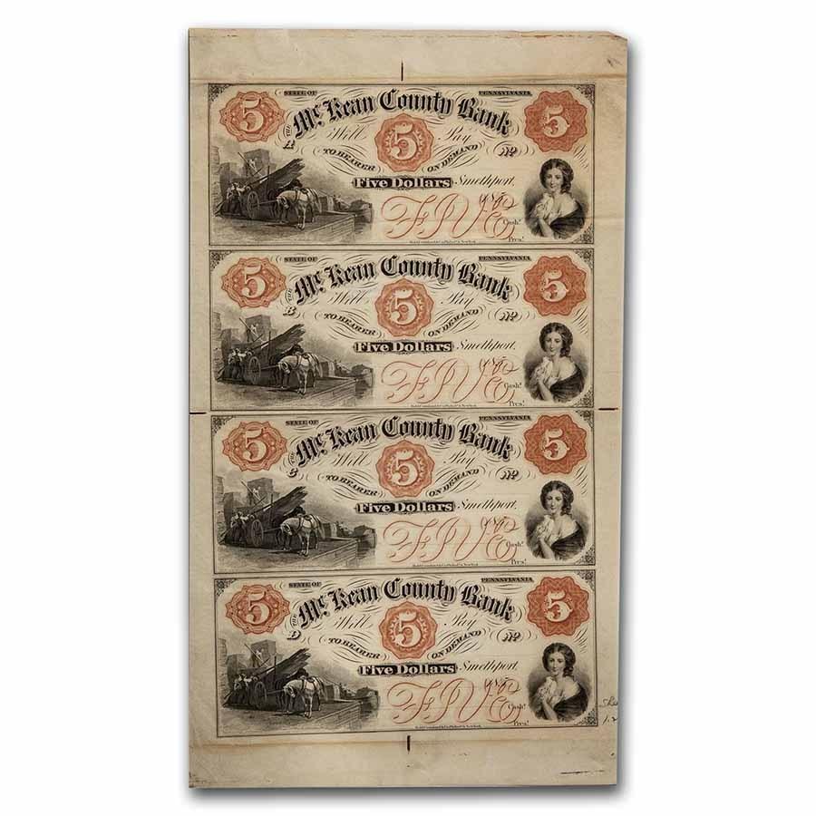 Uncut Sheet McKean County Bank, PA $5 $5 $5 $5 Ch AU