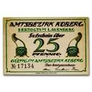 (Undated) Notgeld Koberg 25 Pfennig CU (Green/Manilla)