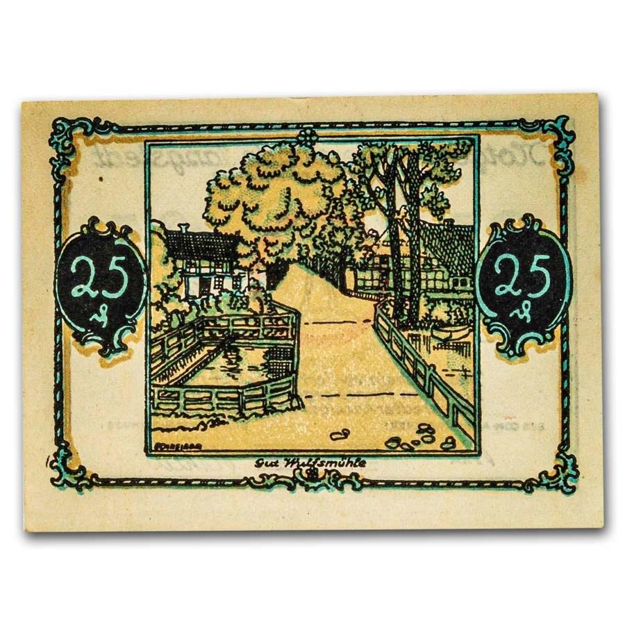 (Undated) Notgeld Tangstedt 25 Pfennig CU (White/Tan)