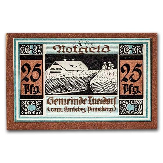 (Undated) Notgeld Thesdorf bei Pinneberg 25 Pfg CU (Blue/Brown)
