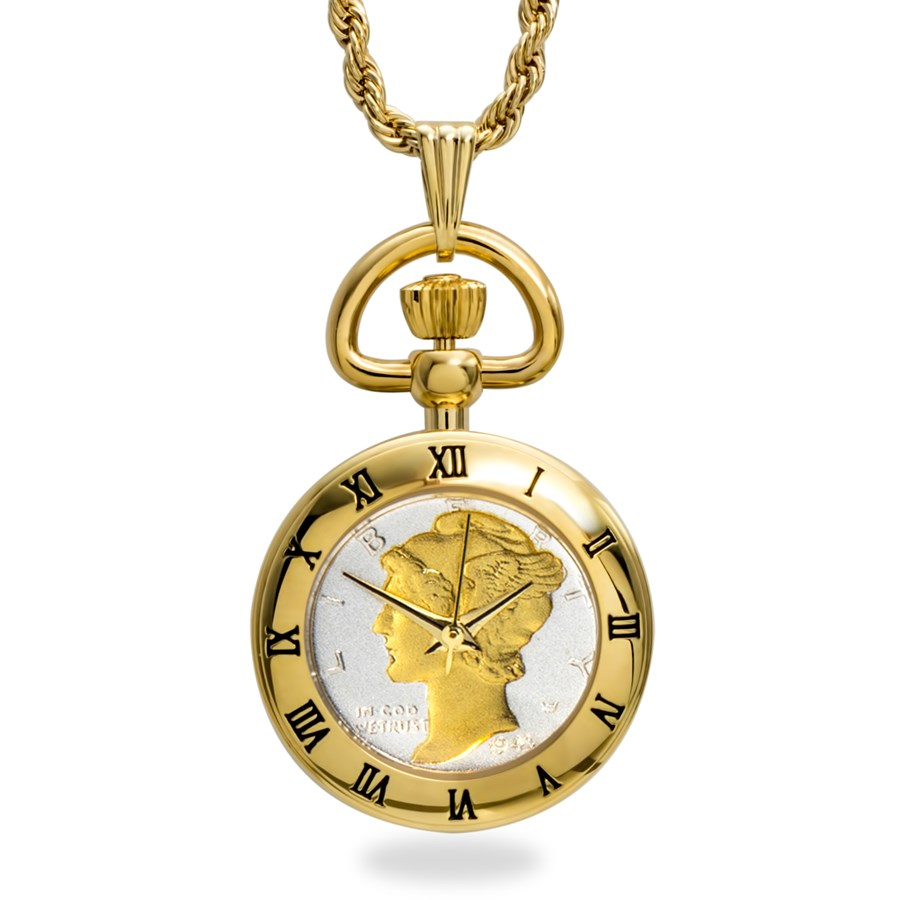 US Mercury Dime Watch Gold-Tone Pendant