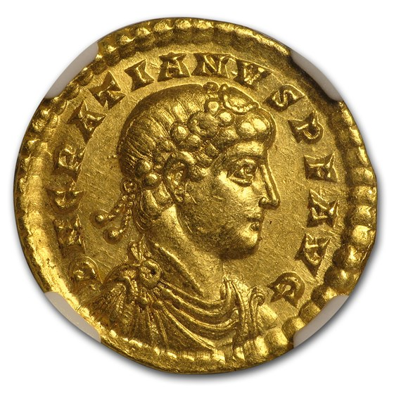Western Roman Gold Solidus Emper. Gratian (367-383 AD) AU* NGC
