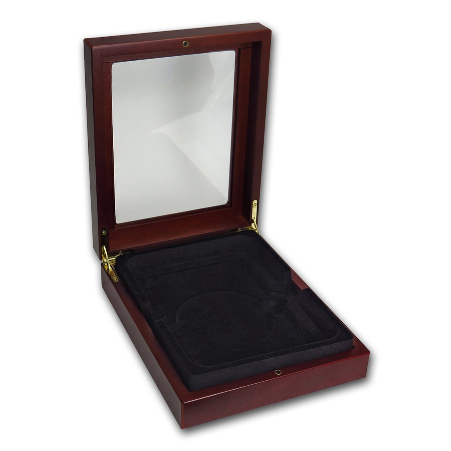 Wooden Box Glass-Top Presentation Box - Large Slab (NGC)