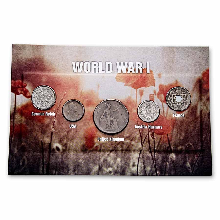 World War I era Coins from Around the World 5-Coin Set BU