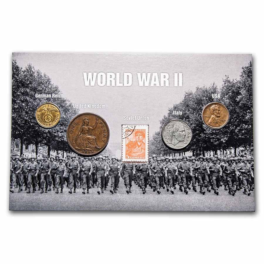 World War II era Coins from Around the World 5-Coin Set