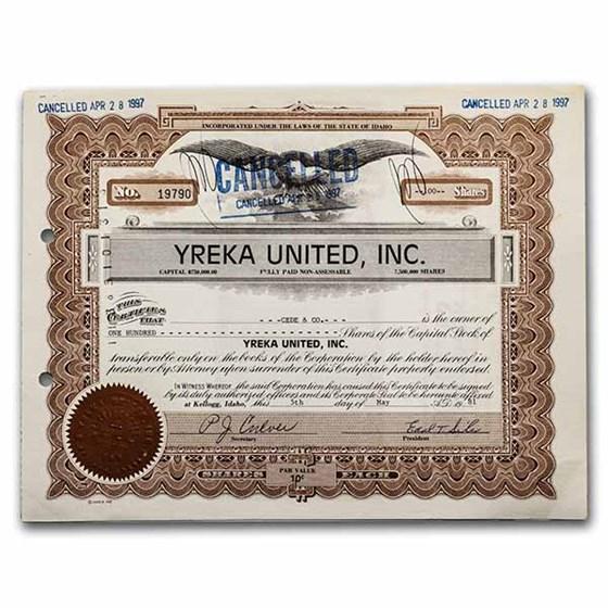 Yreka United, Inc. Stock Certificate